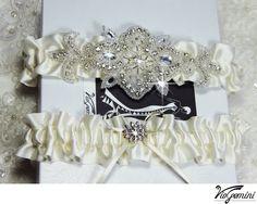 Luxury Wedding  Garter Set Bridal garter set  - satin ribbon, beaded rhinestone applique. $39.99, via Etsy.
