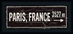 Amazon.com - Paris France 3527 Miles by Pela Studio Black White Sign 23x11 Framed Art Print Picture Wall Décor -
