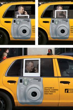 """Great POLAROID outdoor ads -   """"Let's see a digital camera make prints this fast."""""""