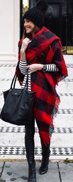 fashionable outfit | hat + plaid scarf + stripped top + bag + skinnies + boots