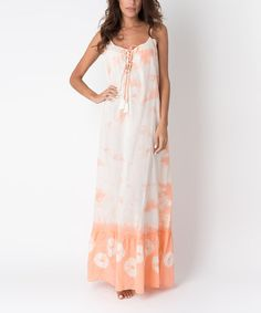 Loving this Peach Tie-Dye Lace-Up Maxi Dress on #zulily! #zulilyfinds