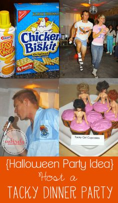 Halloween Party Idea: host a tacky dinner party. Have costume contest to see which couple can be the tackiest, tacky food, karaoke, limbo and more. www.entirleyeventfulday.com #halloweenparties #halloween #partyideas