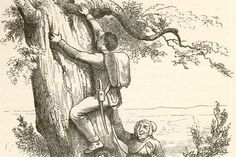 A soldier crawling up a tree and a witch