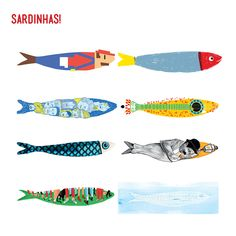 Uma Sardinha é tudo! Sardines are the whole! / Festasdelisboa / Fiestas de Lisboa / Lisbon / Illustrations of sardines Fish Drawings, Animal Drawings, Fish Illustration, Graphic Illustration, Elly Smallwood, Illustrations Posters, Color Patterns, Painting, Design
