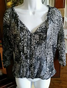 Women s S/P Black & White Semi Sheer Animal Print Express Boho Peasant Blouse