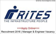 RITES Recruitment 2015-2016 | Manager