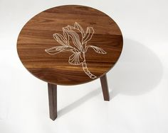 Modern Handmade Walnut Side Table with Inlaid Magnolia detail by Patrick Lajoie $395