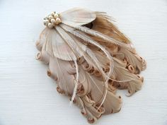 MAUREEN Ivory Bronze and Beige Peacock by OhPeacockFeathers