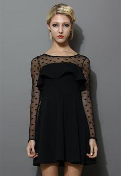 Black Polka Dots Mesh Dress with Ruffle Trim