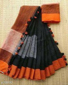 Discover thousands of images about Pom pom Linen saree : free COD WhatsApp Black Cotton Saree, Black Saree, Cotton Silk, Drape Sarees, Silk Sarees, Saris, Silk Saree Kanchipuram, Handloom Saree, Kurti