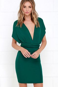 Right of Way Convertible Forest Green Dress at Lulus.com!