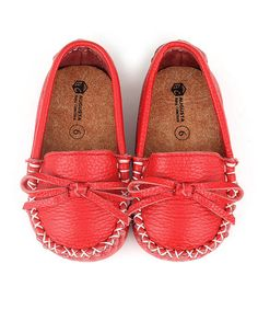 Love this Red Leather Moccasin by Augusta Baby on #zulily! #zulilyfinds