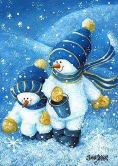 These snowpeople are dressed in WVU Mountaineer colors! :)