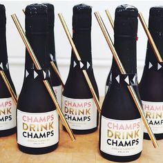 "Planning a birthday celebration? Event planner @chanelvanreenen knocked it out of the park with her mini ""Champs Drink Champs"" champagne favors for a 30th Birthday party tonight! Stop by the shop & pickup some for your besties birthday!"
