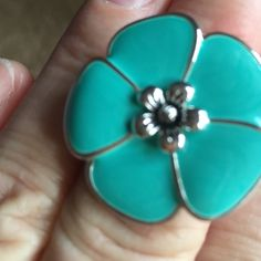 Teal flower ring Silver and teal colored flower ring Premier Jewelry Rings
