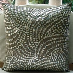 Pearl Nostalgia  - Euo Sham Covers - 26x26 Inches Silk Pillow Cover with Silver Mother of Pearls