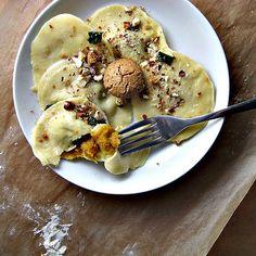 pumpkin ravioli with sage and toasted hazelnuts