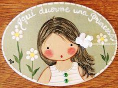 Placa para puerta niña vestido blanco rayas verdes (Aquí duerme una Princesa). http://www.mantelesyregalos.com/placas-para-puertas/2979-placa-para-puerta-nina-vestido-blanco-rayas-verdes.html