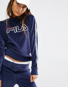 Image 1 of Fila Sweatshirt With Tape Detail Sleeves And Applique Logo In…