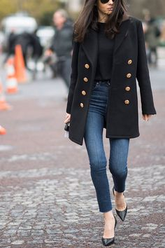 a1d4b6453 25 Ways to Wear Jeans to Work  purewow  denim  work  outfit ideas
