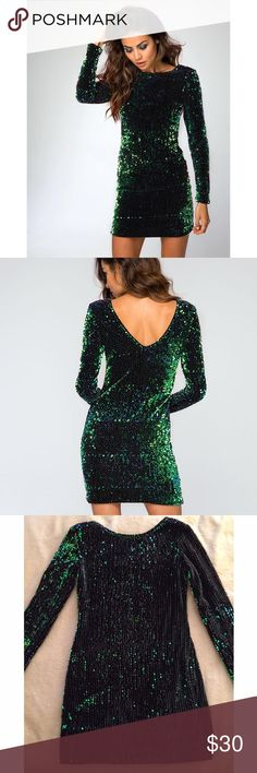 Motel style green iridescent sequin bodycon dress Motel style green iridescent sequin long sleeve bodycon dress. Perfect for fall & upcoming holiday season. Worn once. Unbranded fits Small/Medium. Motel Rocks Dresses