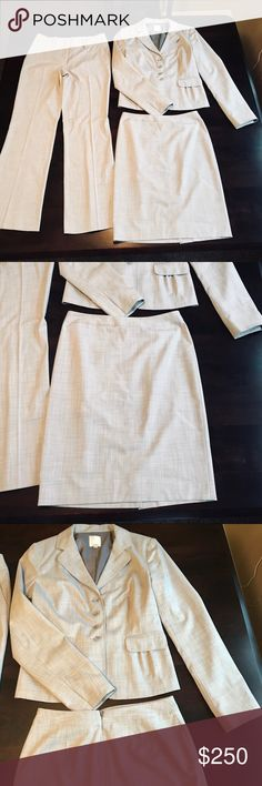 Halogen Grey Suit Set!! NWOT! Only flaw - part of the clasp on the skirt is missing. Zips fine and stays on fine. Never worn, so the clasp was missing when bought. Pants and skirt are size 0 and the jacket is a size 2! No stains, holes, strings, wearing (besides clasp)! CAN be sold separately. Jacket was $395, pants $135, and skirt $99 originally. If you would like to purchase separately comment below and we can discuss! I would like to sell this as a whole, but will split for the right…