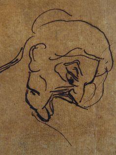 """DELACROIX Eugène,1822 - La Barque de Dante, le Damné, l'Homme mordant la Barque, Etude (drawing, dessin, disegno-Louvre RF9169) - Detail 3   -   TAGS : figures details détail détails """"dessins 19e"""" """"19th-century drawings"""" croquis étude study sketch sketches France bark rowboat mer tempête sea storm naufrage amitié friendship drame drama tragedy poet man men nu nude naked """"naked man"""" """"naked men"""" nudity nudité bare """"homme nu"""" survivor danger Hell nightmare cauchemar romantisme romanticism…"""
