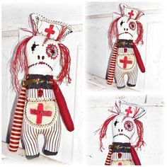 Night Shift Clarice EerieBeth Whimsy Nurse Monster Goth Punk Doll Halloween Home Decor $39.99 USD by EerieBeth