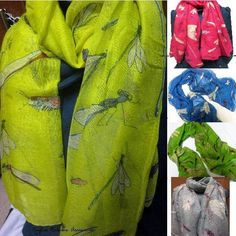 Large Insect Bug Scarf Flying Mosquitoes Fashion Scarves Grasshopper Womens Girl #SufiasAccessories #Scarf