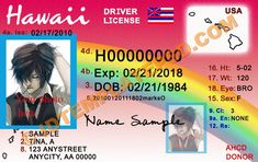 This is Hawaii (USA State) Drivers License PSD (Photoshop) Template. On this PSD Template you can put any Name, Address, License No. DOB etc and make your personalized Driver License.  You can also print this Hawaii (USA State) Drivers License from a professional plastic ID Card Printer and use as per your requirement.