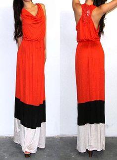 Color Block Stripes Empire Waist Crochet Racer Back Jersey Long Maxi Sun Dress S | eBay