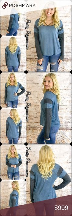 """NWT Blue & Charcoal Strappy Neck Top NWT Blue & Charcoal Strappy Neck Top  Available in S, M, L Measurements taken from a small  Length: 27"""" Bust: 36""""  Rayon  Made in the USA * Also available in Taupe/Charcoal in separate listing   Features • open neckline w/strappy accents • blue w/charcoal sleeves • soft lightweight material  • relaxed, easy fit  Bundle discounts available  No pp or trades   Item # 1/105150360BGT blue gray charcoal Pretty Persuasions Tops"""