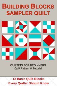 Complete pattern for a twelve-block sampler quilt, plus patterns and instructions for the twelve basic quilt blocks that go into the sampler. You will also learn how to add sashing and borders to your quilt. Quilting For Beginners, Quilting Tips, Quilting Tutorials, Quilting Designs, Cute Quilts, Scrappy Quilts, Paper Piecing Patterns, Quilt Block Patterns, Quilt Blocks Easy