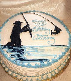 Fisherman Silhouette Cake - Mueller's Bakery