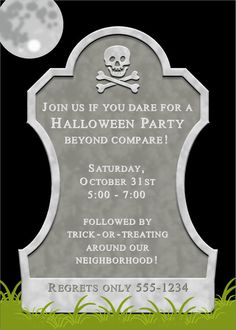 tombstone halloween invitation printable 1500 via etsy halloween tombstones halloween fun