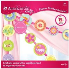 American Girl Crafts Garland, Flower Sticker Create sparkly garland to brighten your room.. Create colorful banner using these glittered stickers and ribbon.. Personalize how you want it to look.. For Ages 8 .