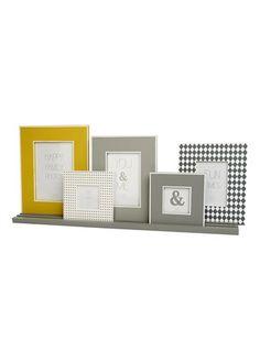 Set of 5 Photo Frames on Shelf (60cm x 26cm) - Matalan