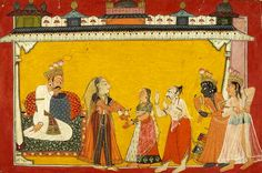 "Kaikeyi removes ornaments from Sita before Rama banishment, From the ""Shangri Ramayana"".   Kullu District, Himachal Pradesh, India Date: ca 1700 CE"