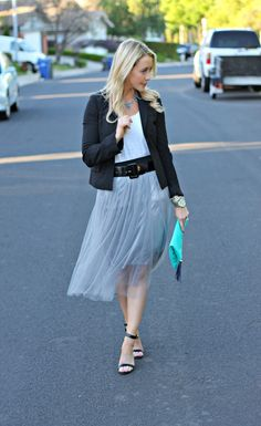 Shannon Willardson: GBO Fashion Blog // Tulle is beautiful! Shannon wears it well, pairing this tulle skirt from Jane.com with a darling blazer. #veryjane
