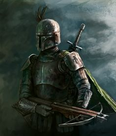 Medieval Fett! Artist props located by the talented @franciscat03 and can be found here: http://odobenus.deviantart.com/art/Boba-Fett-from-the-Past-286327940