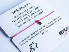Wish Bracelet Friendship Bracelet, Silver Star Charm - Wedding, Graduation, Party Favours