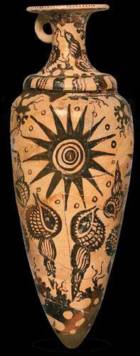 "Terracotta rhyton painted in ""Marine Style"" with murexes (Zakros, Late Minoan IB, ca. 1525/1500-1450 B.C.) (Courtesy Onassis Public Benefit Foundation)"