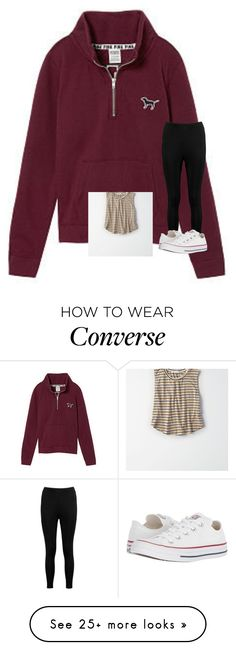 """Untitled #7120"" by laurenatria11 on Polyvore featuring Victoria's Secret, Boohoo, Converse and American Eagle Outfitters"