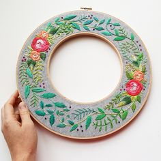 Stitch your own gorgeous double hoop embroidery wreath with this fun embroidery pattern! This pattern features a lovely rose floral design using 21 colors of co