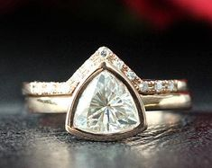Elegant Affordable Custom Moissanite by SolitaireRingJeweler Wedding Rings Solitaire, Gold Wedding Rings, Wedding Band, Engagement Ring Types, Rose Gold Engagement Ring, Wedding Engagement, Bridal Ring Sets, Bridal Rings, Moissanite Diamond Rings
