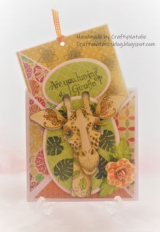 Hello, My second post for today features a card i have made using one of the stamps from Pink Ink Designs. I love their stamps and ha. Ink Stamps, Animal Cards, Cute Characters, Giraffes, Leaf Design, Cool Cards, Wild Animals, I Card, Cardmaking