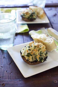Spinach & artichoke stuffed portobello