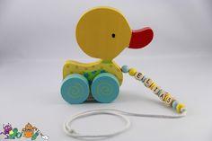 Holzspielzeug - ⭐️ Ziehtier mit Namen ⭐️ Ente ⭐️ Ziehente ⭐️ gelb - ein Designerstück von Mini-Monsterbande bei DaWanda