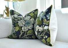 "20""sq. GP& J Baker MAGNOLIA pillow cover in Indigo. $90.00, via Etsy.  Love her pillows!"