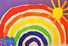 painted rainbow....can do as a color wheel and teaching primary colors, secondary colors, tertiary colors.